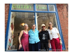 Nancy Cohen, Fran Kornfeld , Ursula Clark and Junia Flavia d'Affonseca, outside Gallery Gaia
